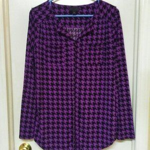 Worthington Purple Houndstooth Button Up Blouse